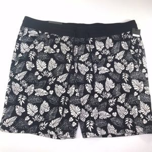 NEW 100% Cotton Palm Leaf Black White Board Shorts